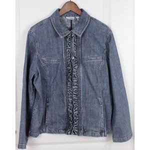 Chico's Platinum 3 Blue Denim Jean Jacket XL